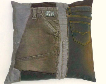 20 inch Pillow, Patchwork Eco-Friendly Pillow Cover, Brown Pillow Case, Dorm Decor, Upcycled Home Decor, Denim - Brown, Gray, Black, Taupe