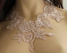 Lace Collar Necklace, lace bridal necklace, Collar Necklace, Pink Collar Necklace,