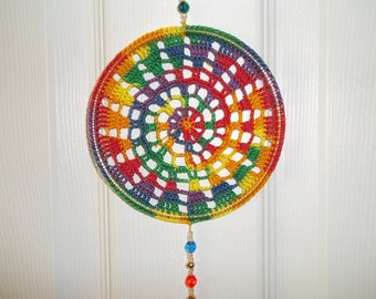 Handmade Crochet Beaded Rainbow Mandala Suncatcher