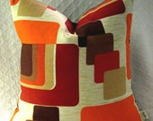 Mid Century Danish Modern Pillow Cover -- 1960s Mod - Orange, Paprika, Brown, Tan on Cream - Vintage Fabric - Many Sizes Available