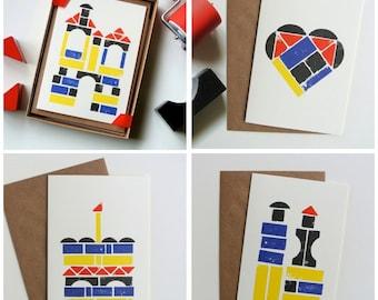 Building Blocks - Stamped Ink Greeting Cards