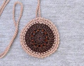 Boho Chic Crochet Necklace, Beaded Circle Pendant, Statement Jewelry, Fiber Art