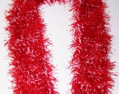 Red and White Fun Fur Scarf, Chunky Scarf, Red Fun Fur Scarf, Gift for Mom, Valentine Gift