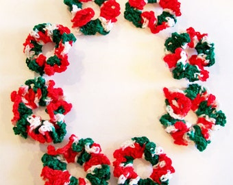 Gift Under 5 Dollars Crochet Christmas Hair Scrunchies Variegated Red, Green, White Yarn, Hair Tie, Ponytail Holder, Buy 1 or All!