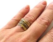 Steampunk Violin Ring- Adjustable- Antique Brass Finish