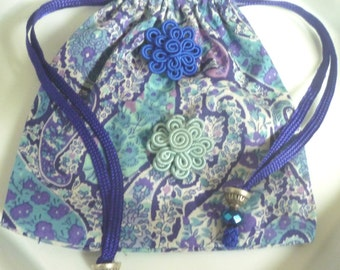 Moroccan gift bag, drawstring pouch, Liberty Tana Lawn, embellished