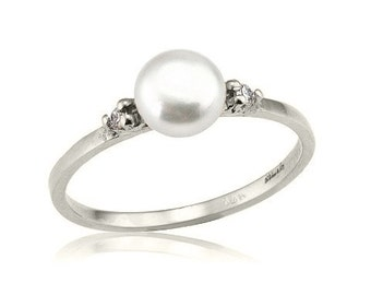 Beautiful Pearl Diamond 18k Gold Ring, Diamond Pearl Ring, Pearl Engagement Ring, June Birthstone Ring, Romantic Gifts