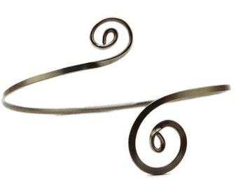 Spiral Arm Band, Silver Arm Band, Upper Arm Band, Arm Bracelet, Spiral Arm Cuff, Upper Arm Cuff, Silver Armlet, Boho Arm Cuff, Arm Bangle