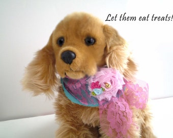 Fancy Dog Bandana, Small Dog Accessories, Marie Antoinette Inspired Dog Scarf, Girl Dog Party Scarf