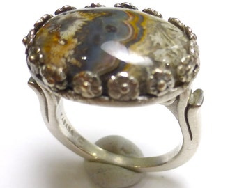 Crazy Lace Agate Ring Size 7 Oval Byzantine Royal Style Fancy Sterling Silver Earth One of a Kind Handmade by Lisajoy Sachs Design Oxidized