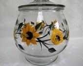 Sunflowers Cookie jar-Hand painted sunflower cookie jar-painted Sunflowers