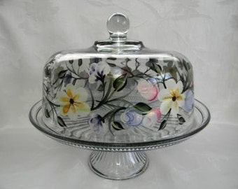 Cake dish , glass Cake dish, covered cake dish, cake dish with spring flowers, painted cake dish, punch bowl, spring flowers