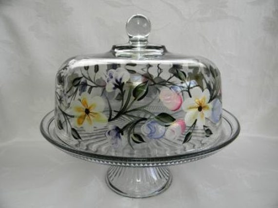 Cake dish , glass Cake dish, covered cake dish, cake stand, painted cake dish, punch bowl, spring flowers