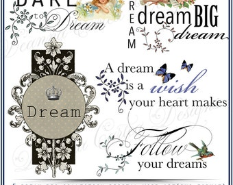 Dream Big Collection Digital Word Art PNG format Instant Download cu ok