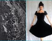1940s - 50s / Embossed Black Velvet / Party Dress / Van San of New York