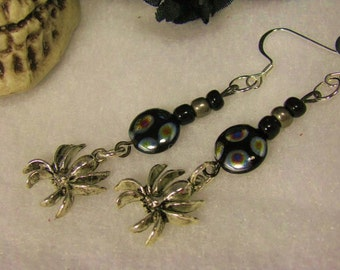 Beautiful Gothic Silver Spider Drop Earrings
