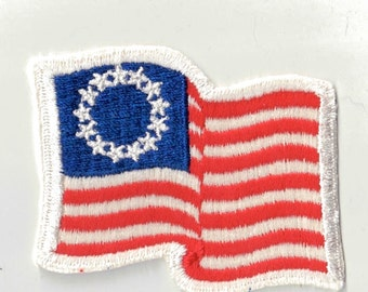 American Flag USA Red White Blue Retro Vintage 1970's Sewing Patch Applique