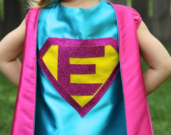 Sparkle PERSONALIZED Giri SUPERHERO CAPE - Customize with your child's initial - Kid Costume - Girl Superhero Party