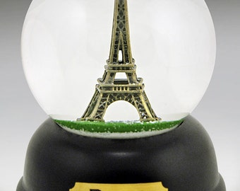 Eiffel Tower Paris Snow Globe - handcast pewter miniature Eiffel Tower