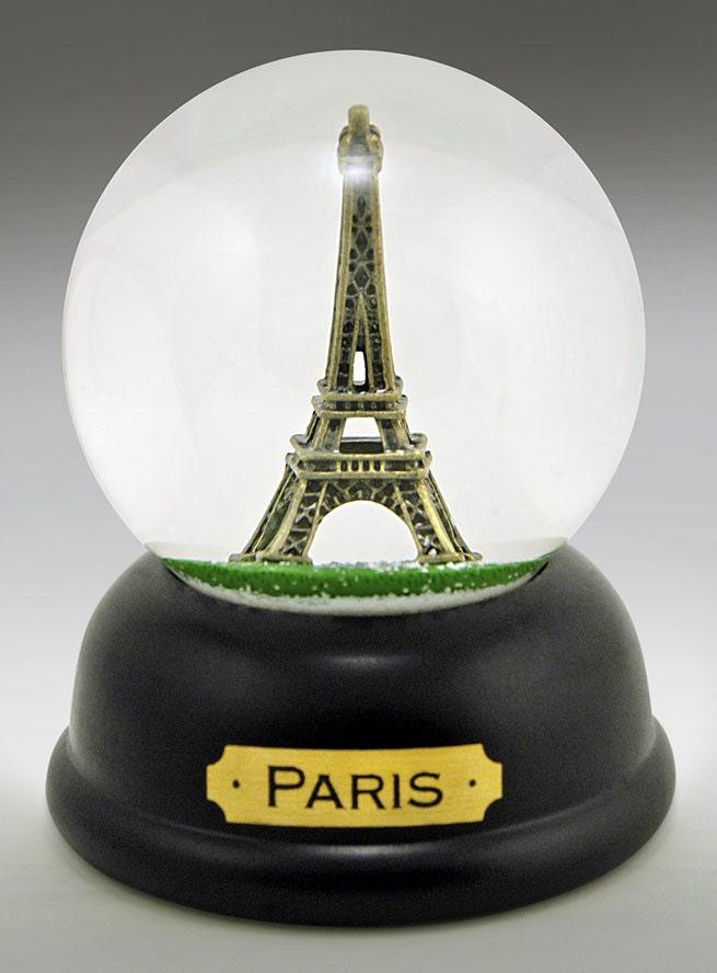 Eiffel Tower Paris Snow Globe handcast pewter by globalshakeup