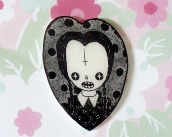 Creepy kooky cute brooch, halloween, Holographic glitter, spooky, 90's style, halloween, gothic, black, art