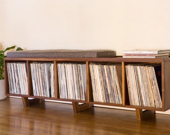 Vinyl LP Storage Bench with Mid Century Modern Stylings