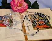 Stunning Lasso Wedding Rosary - His and Hers Combined Genuine Swarovski Crystal - Double Catholic Wedding Rosary