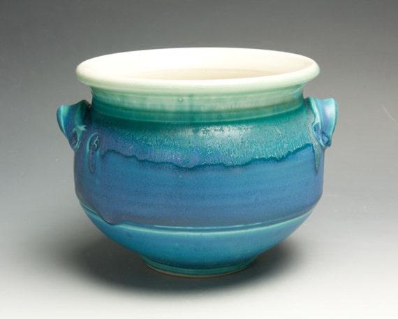 Ceramic Porcelain Kitchen Utensil Holder Aqua Turquoise Blue