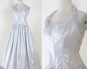 Vintage 1980's Silver Metallic TAFFETA Prom Party Dress / Formal Costume Cocktail Dress