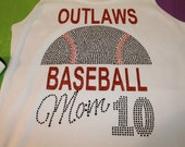 BLINGY Baseball Tee--Done in your team colors and team name--Lots of sparkle