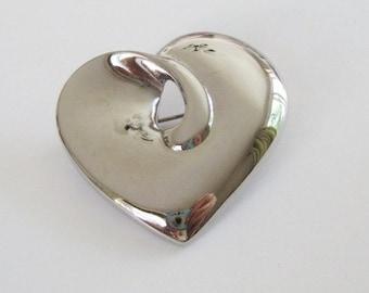 Vintage Shiny Silver Tone Heart Brooch