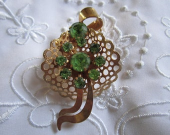 Vintage Ribbon and Bow Brooch with Lime Green Faceted Rhinestones