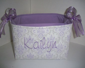 Large Diaper Caddy / Organizer Bin / Purple Grey Silver Damask - Personalization Available