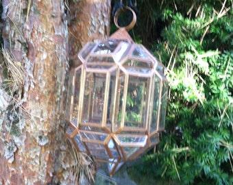 Vintage glass lantern light hanging display