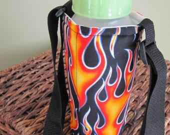 Black Flames Water Bottle Holder