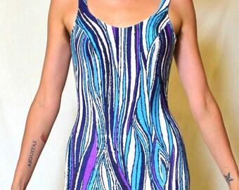 Vintage Rockabilly Swimsuit Bombshell Glamour Aqua Suit 1pc Pinup Bikini Perfect Summer Surfer Bond Girl Abstract Purple Blue