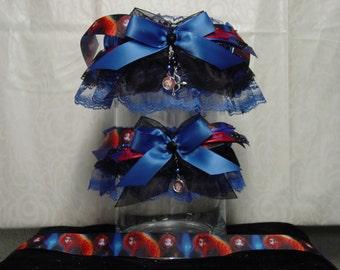 Disney Brave Merida Inspired Garter Set in Black and Royal Blue