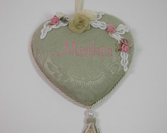 Fabric MOTHER Embroidery Heart Wall Door Knob Hanging Pink Words Light Jade Green Ribbon Flowers Tassle Shabby Chic Package Topper Gift Idea
