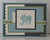 Hello Baby Card Little One Handmade Elephant Baby Boy Hand Stamped New Baby Welcome Baby Made in Gray Blue Green Vanilla