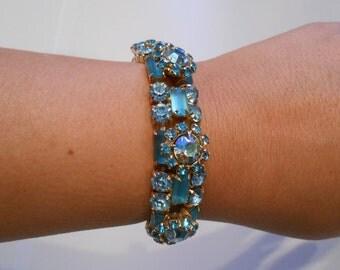 Cool Calm Cleopatra - Vintage 1940s Loaded Turquoise Coloured Rhinestone Bracelet