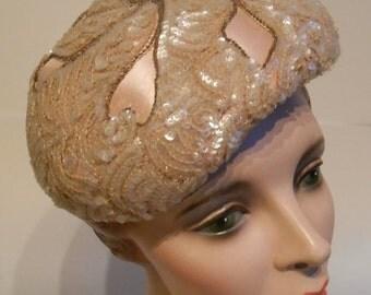 Sparkling Pink Follies - Vintage 1950s Evelyn Varon Pale Pink Satin & Sequin Cocktail Beret Hat