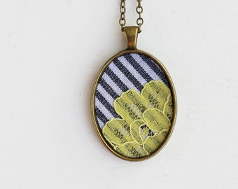 Pastel Yellow Necklace, Lace Jewelry Gray Yellow Wedding, Recycled Fabric Flower Necklace, Stripes White Slate Gray and Yellow Jewelry