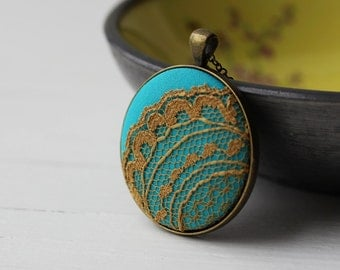 Mustard Yellow and Turquoise Necklace, Mustard Necklace, Turquoise Jewelry, Aqua Yellow Lace Necklace, Lace Pendant, Unique Jewelry