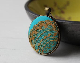 Mustard Yellow and Turquoise Necklace, Unique Jewelry With Lace