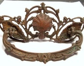 Ornate Drawer Pull ANTIQUE Drawer Pull Shell Detail Huge Antique Hardware Ornate Drawer Pull Assemblage Supplies Home Restoration (T14)