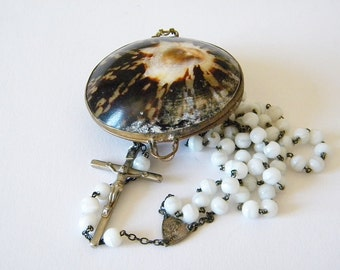 rosary in shell box