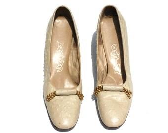 Vintage Gattina Dark Taupe Textured Leather Jeweled Classic Dress Pumps Shoes Sz 10