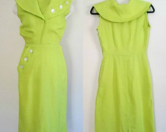1960s Wiggle Pencil Dress Shawl Collar Chartreuse Secretary Daydress