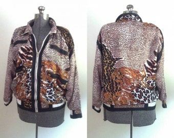 Vintage 1980s Bomber Jacket  Animal Print Windbreaker Oversized 1980s Silk Like Grunge Chic