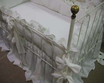 Southern Style Ruffled Washed Linen Crib Bedding in Bright White and Cream-Over Sized Ruffles and Sashes-Crib Blanket  and Crib Pillow